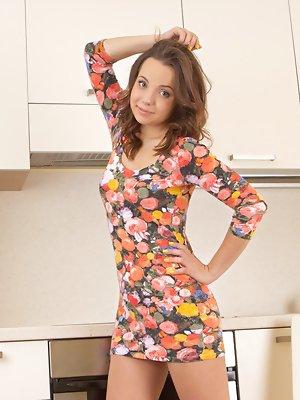 Busty girlfriend in kitchen